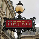 A Metro sign street light in Paris