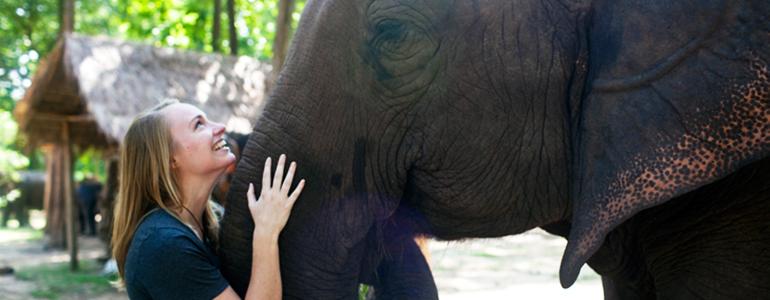 Girls and elephant
