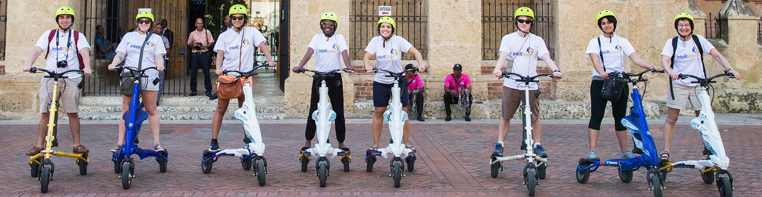 InteRDom Internships, Research, and Study Abroad in the Dominican Republic participants on scooters