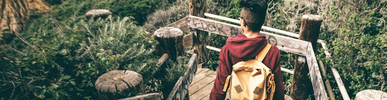 girl walking in the wilderness