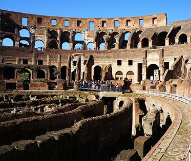 The Colosseum in the centre of the city of Rome, Italy.