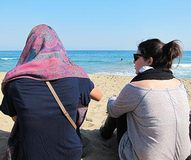 Study abroad students on the beach in Barcelona, Spain