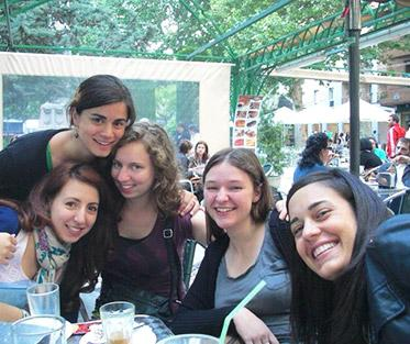Casey and Her Friends at one of their Favorite Local Cafes in Sevilla.