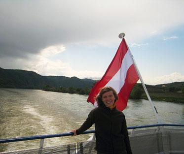 Meredith enjoying time at sea while studying abroad in Austria