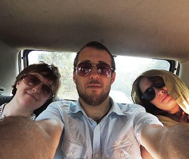 Dominic and his IES roommates en route to an early morning field trip in New Delhi.