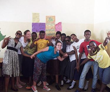 Kylie with the Second Chance Education Students in Moshi Kilimanjaro.