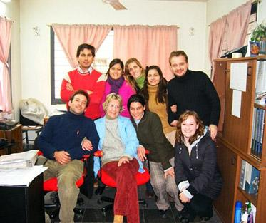Carrie (bottom right corner) with her coworkers at a nonprofit in Córdoba, Argentina.
