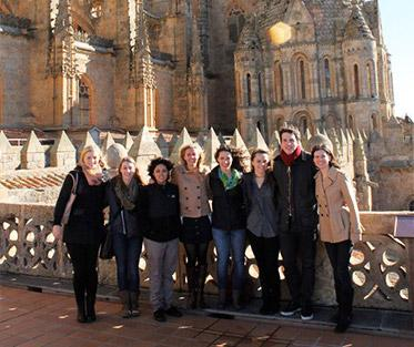 Madeleine and a group from ISA at the old Cathedral in Salamanca.