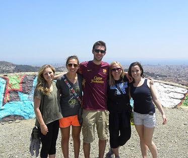 Students at Mt. Tibidabo in the summer with Barcelona SAE staff member