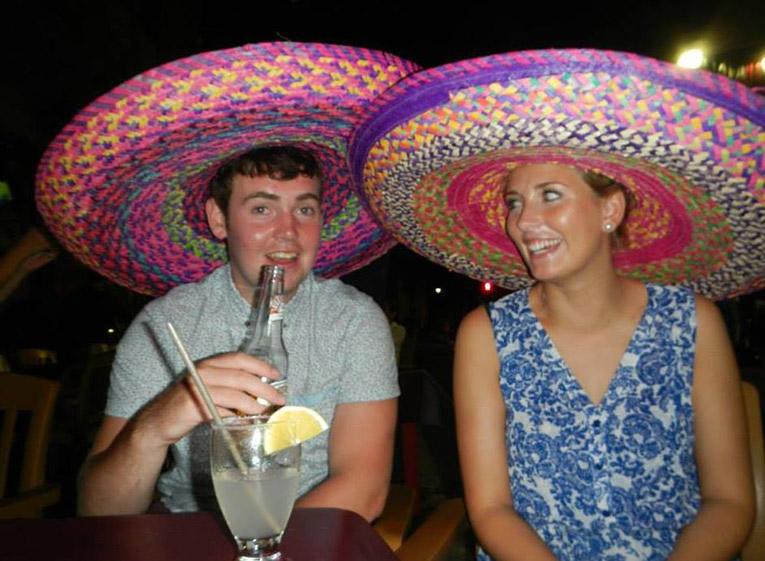 Wearing sombreros in Mexico