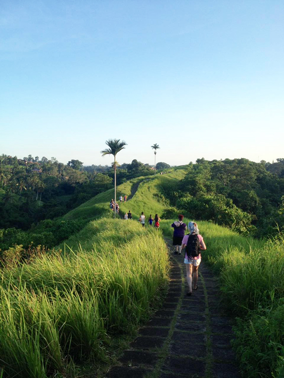 Hiking through a rice field in Bali