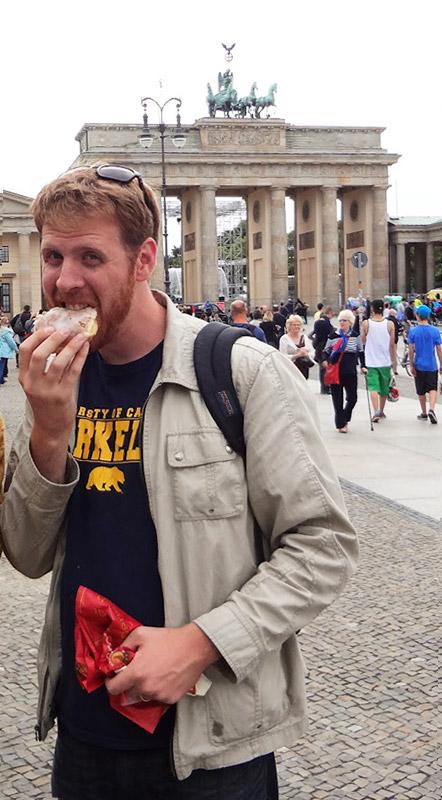 Eating a Berliner in Berlin