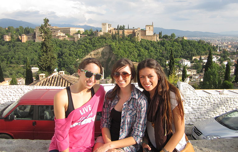 Visitors at Alhambra Palace in Granada, Spain