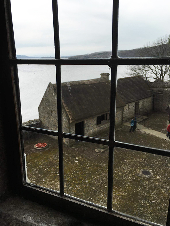 View out a window at Parkes Castle in County Leitrim, Ireland