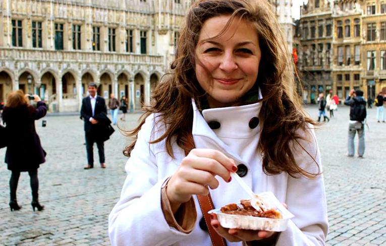 Eating gaufre in Brussels, Belgium