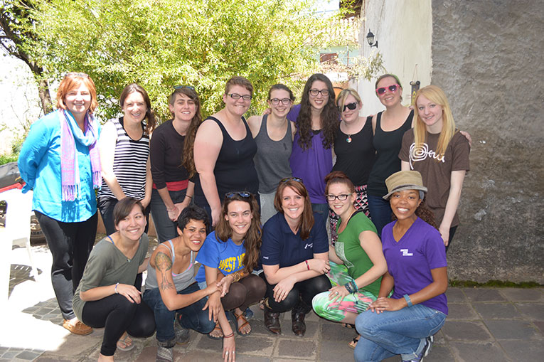 Antioch University students at host familys house in Peru