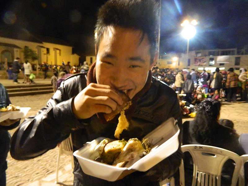 Eating cuy (Guinea Pig) in Peru