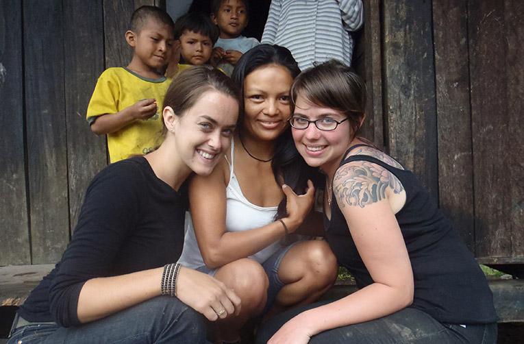 Volunteers with a local in Ecuador