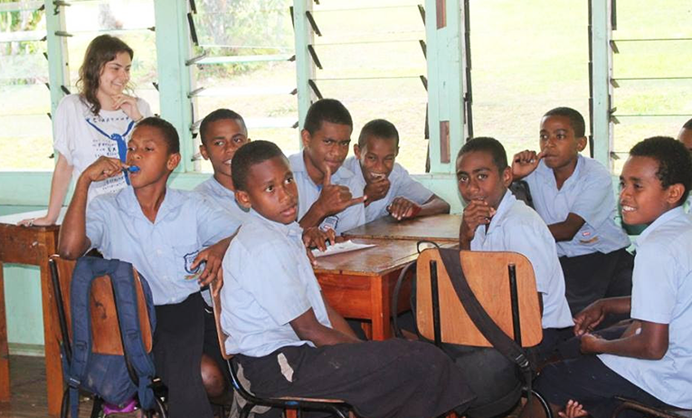 Students at Navunisea District School in Fiji