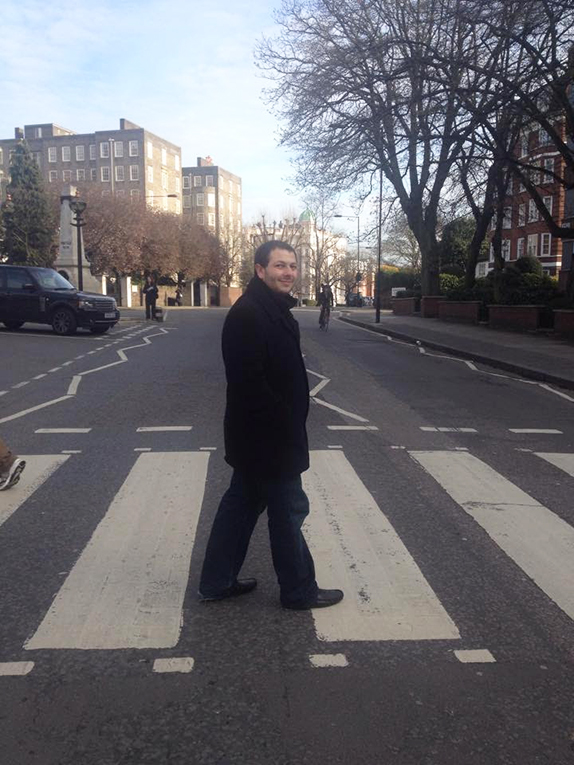 Crossing Abbey Road in London, England
