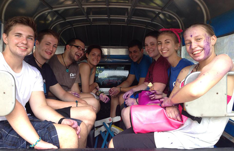 Volunteers riding in a bus in Thailand