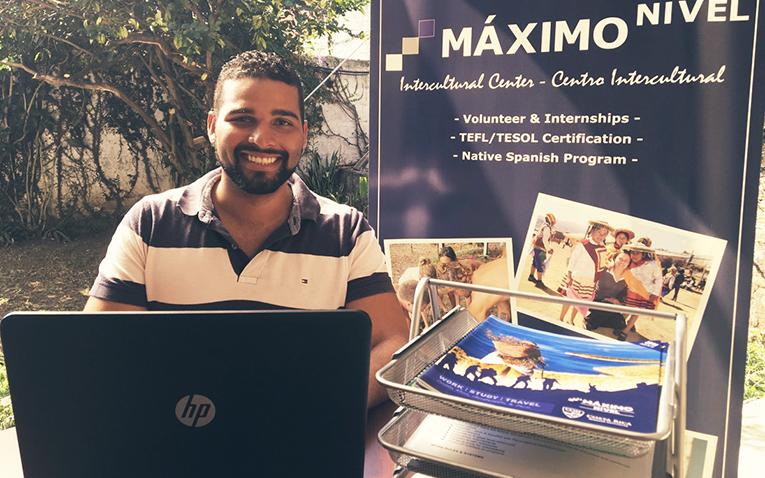 Josue Alcantara at the Maximo Nivel Office in Costa Rica