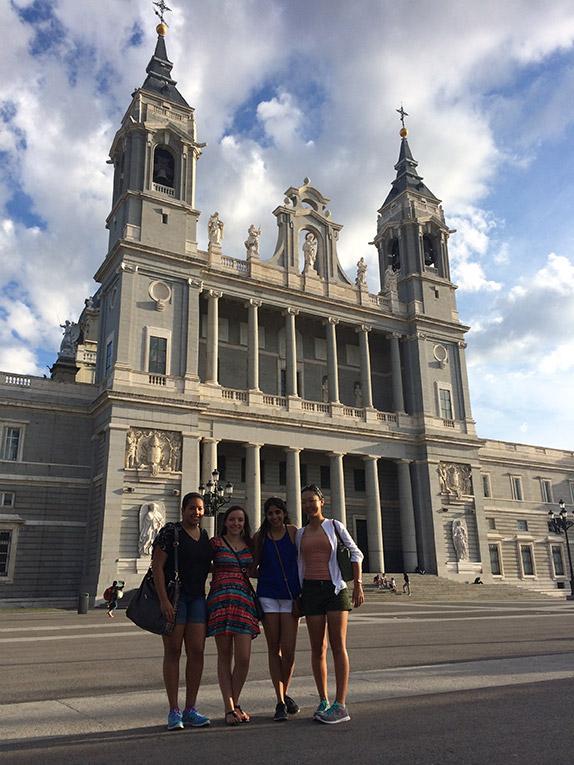 Study abroad students visiting the Catedral de la Almudena.
