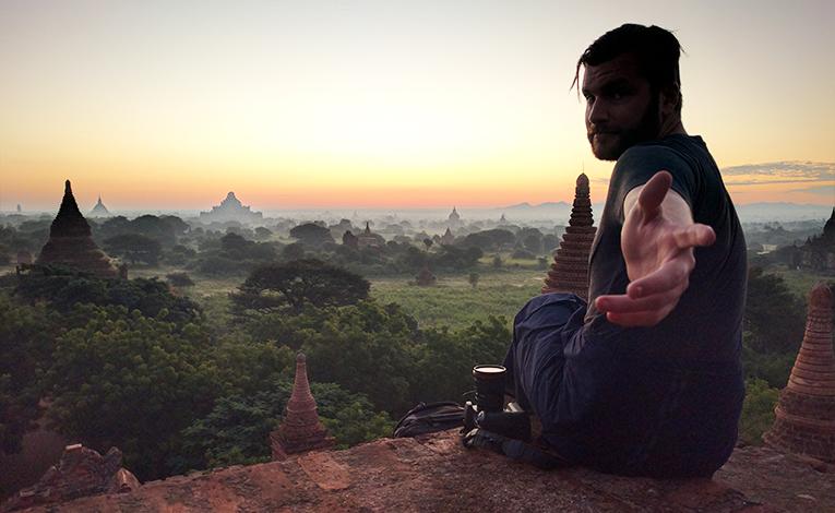 Sunrise over Bagan temples, Myanmar