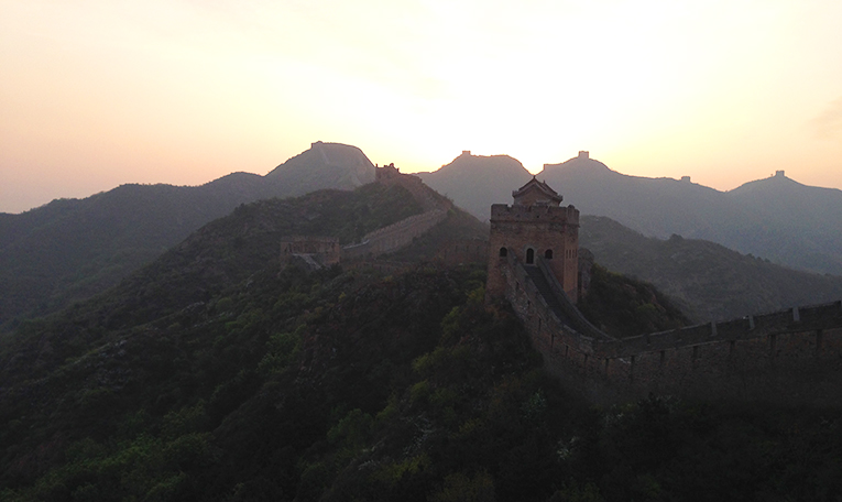 Sunrise over the The Great Wall of China