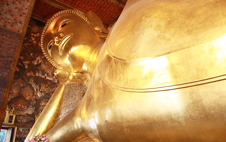 The Reclining Buddha at Wat Pho Temple in Bangkok, Thailand