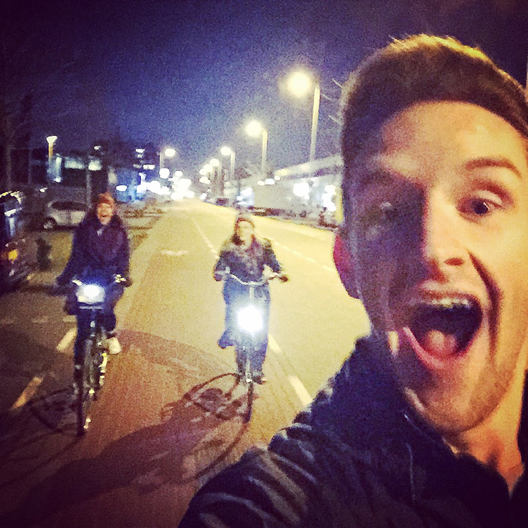 Bike riding in Amsterdam at night