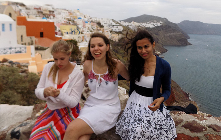 Students in Santorini, Greece