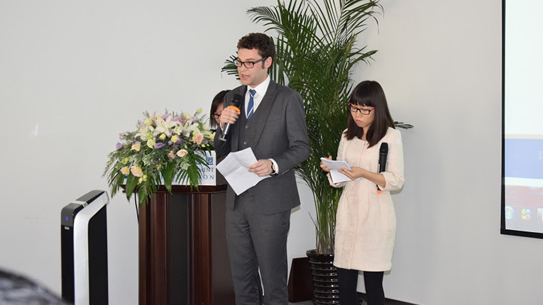 Interns doing a presentation in China