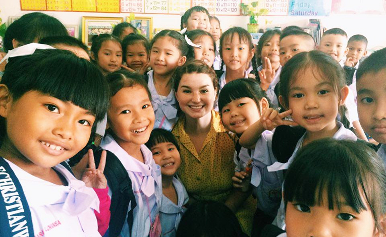 International teacher with her Thai students