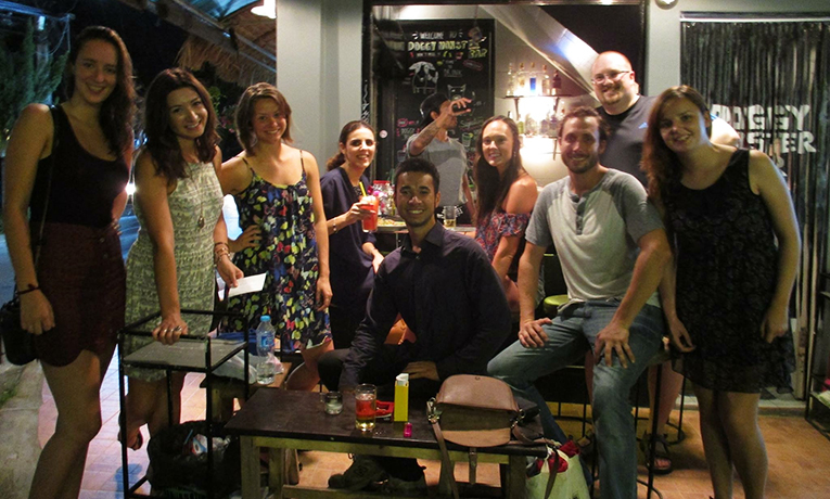 Foreigners on a night out in Chiang Mai, Thailand