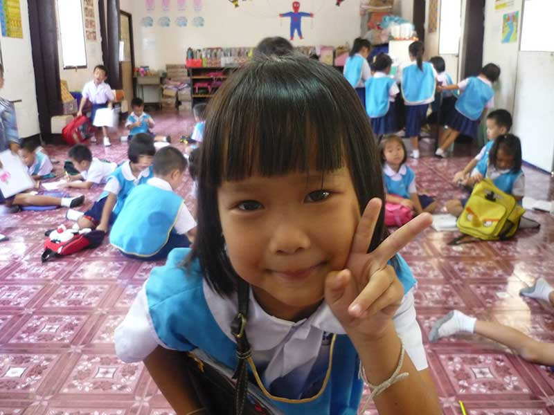 Local students at Lungka School in Thailand