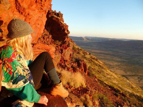 Girl overlooking the outback in Australia