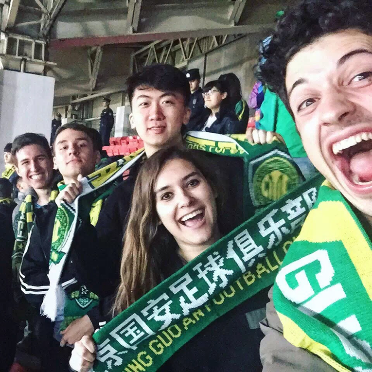 Fans at a soccer match in Beijing, China