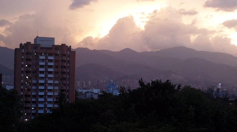Sunset over Medellin, Colombia