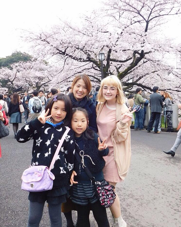 International student with Japanese host family in Japan
