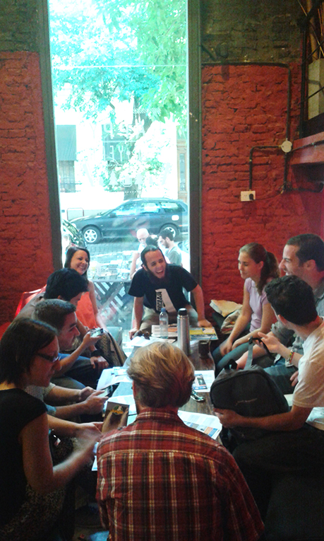 Foreigners in a cafe in Buenos Aires, Argentina