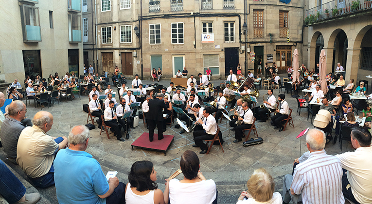 Orchestra playing near Plaza Mayor in Ourense, Spain