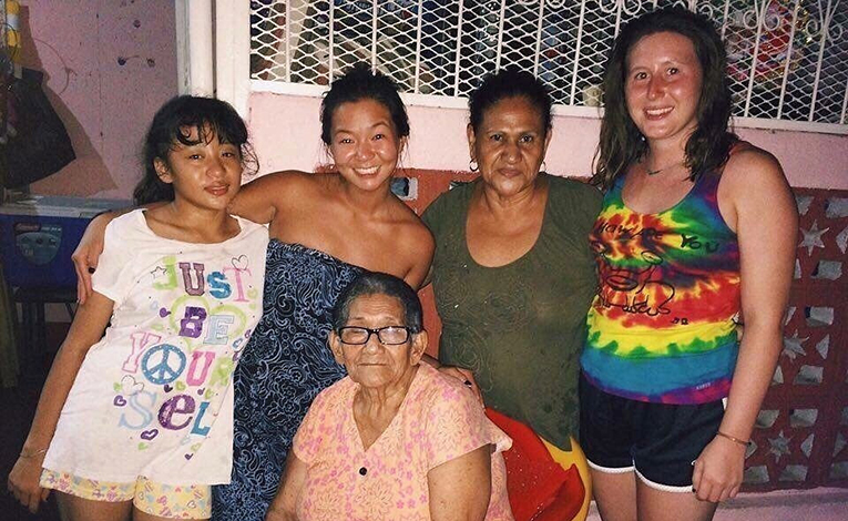 Student with host family in Nicaragua