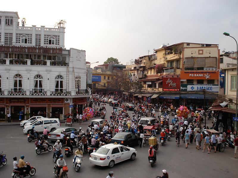 Traffic ridden street in Hanoi, Vietnam
