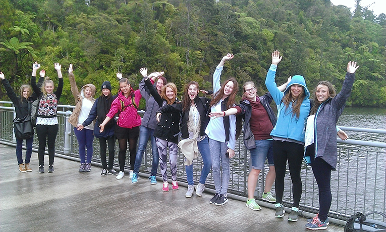 International au pairs on a walk in the Waitakere Ranges, New Zealand