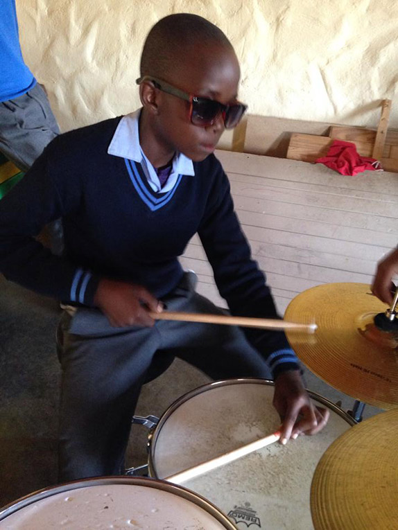 South African students playing the drumset