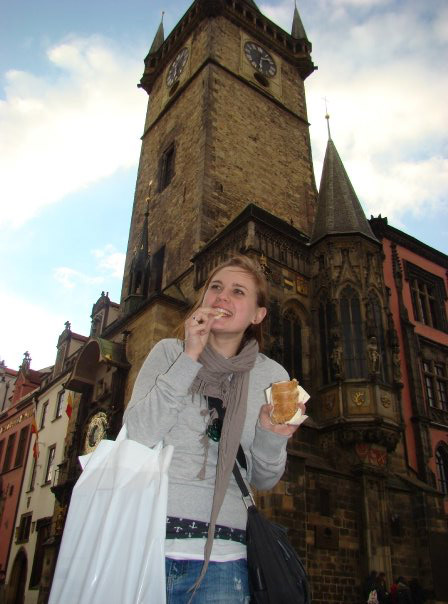 Eating trdelnik in Prague, Czech Republic