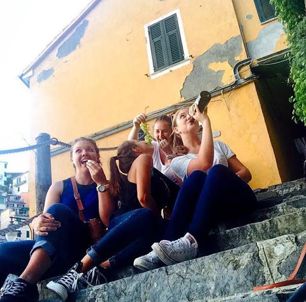Picnic on steps in Riomaggiore, Italy