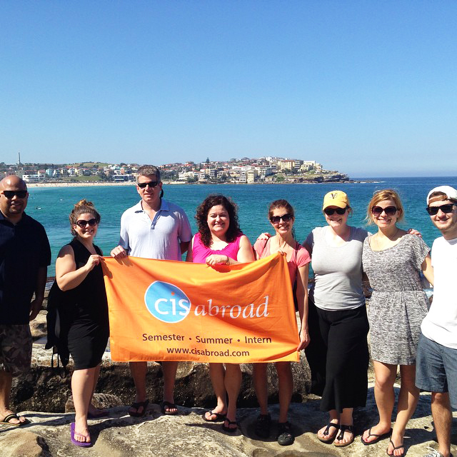 CISabroad founder with study abroad students at Bondi Beach in Australia