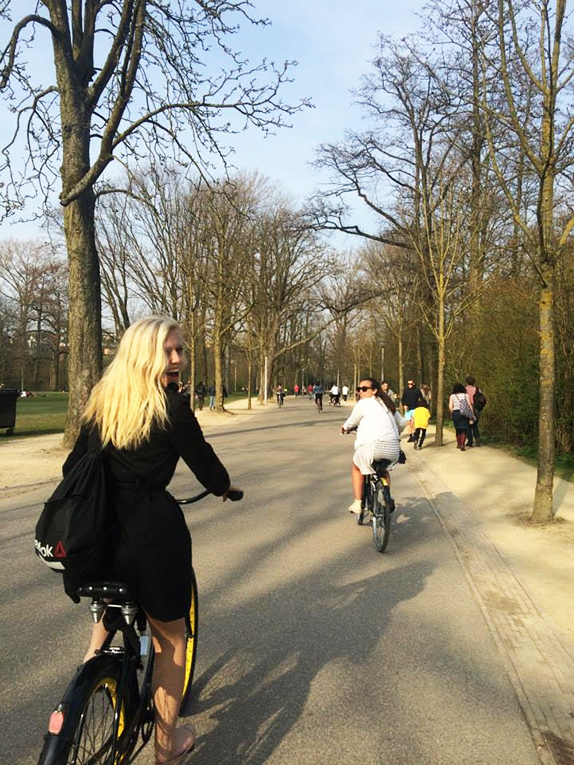 Riding bikes in Amsterdam,Netherlands